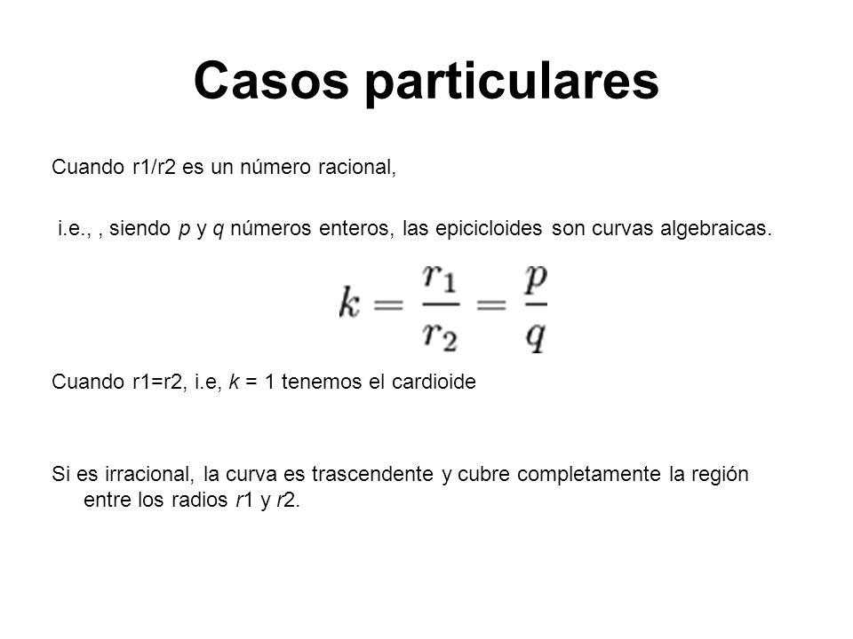 Casos particulares Cuando r1/r2 es un número racional, i.e.,, siendo p y q números enteros, las epicicloides son curvas algebraicas. Cuando r1=r2, i.e