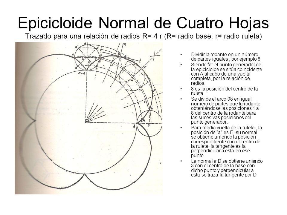 Epicicloide Normal de Cuatro Hojas Trazado para una relación de radios R= 4 r (R= radio base, r= radio ruleta) Dividir la rodante en un número de part