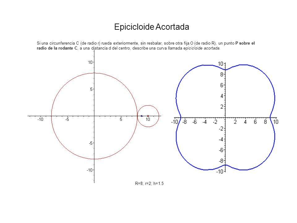 Si una circunferencia C (de radio r) rueda exteriormente, sin resbalar, sobre otra fija O (de radio R), un punto P sobre el radio de la rodante C, a u