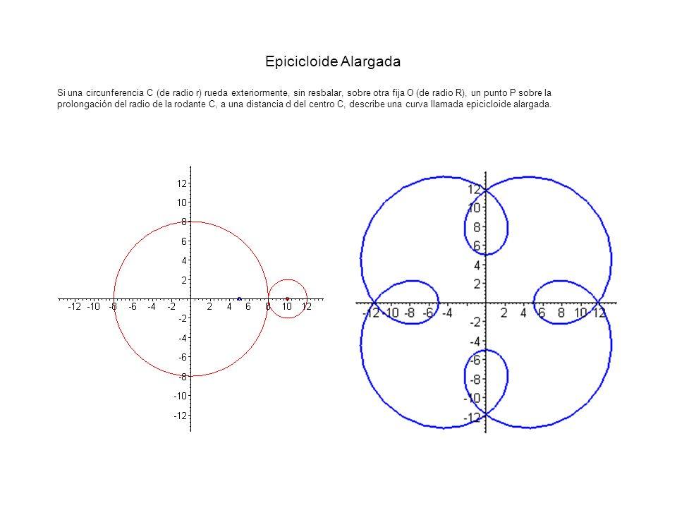 Epicicloide Alargada Si una circunferencia C (de radio r) rueda exteriormente, sin resbalar, sobre otra fija O (de radio R), un punto P sobre la prolo
