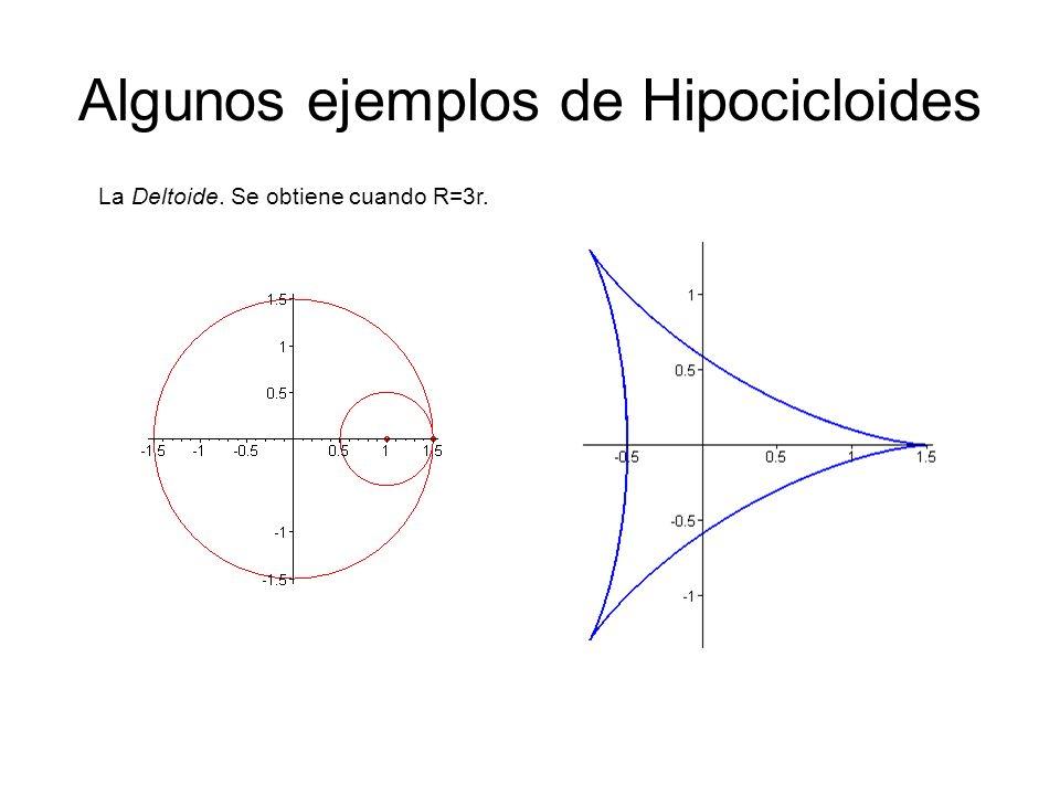 Algunos ejemplos de Hipocicloides La Deltoide. Se obtiene cuando R=3r.