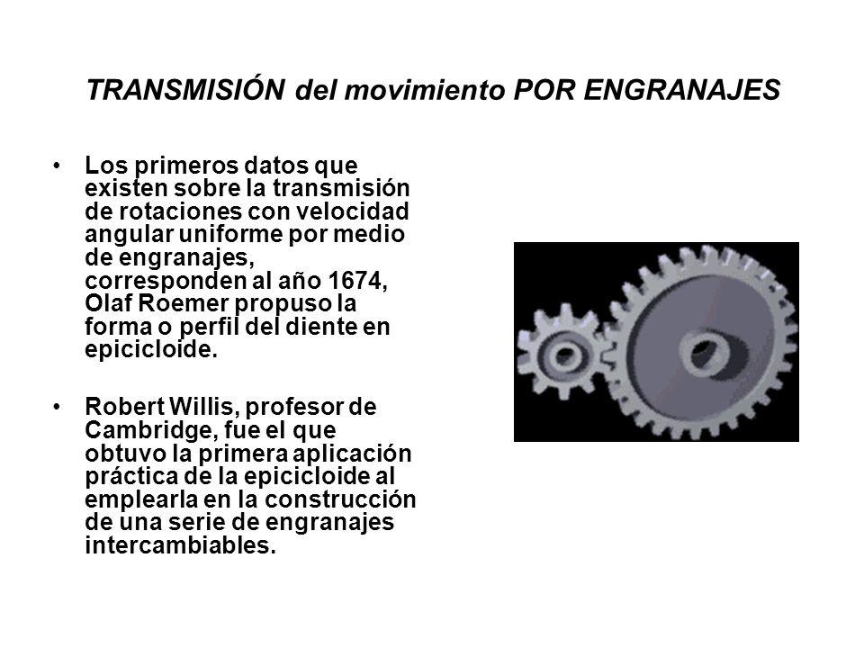 TRANSMISIÓN del movimiento POR ENGRANAJES Los primeros datos que existen sobre la transmisión de rotaciones con velocidad angular uniforme por medio d