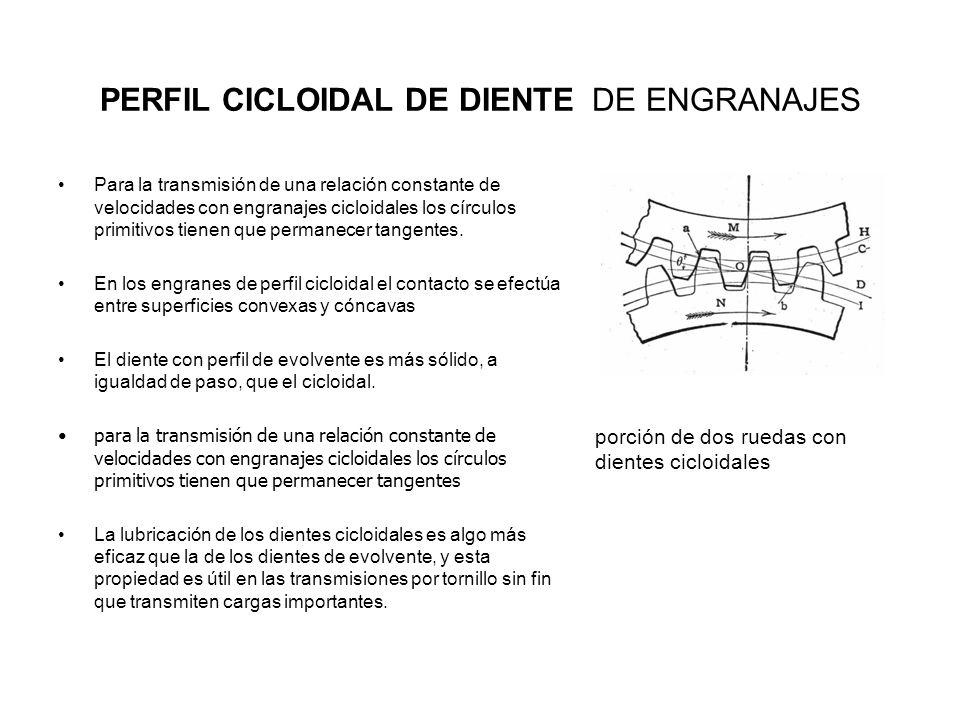 PERFIL CICLOIDAL DE DIENTE DE ENGRANAJES Para la transmisión de una relación constante de velocidades con engranajes cicloidales los círculos primitiv