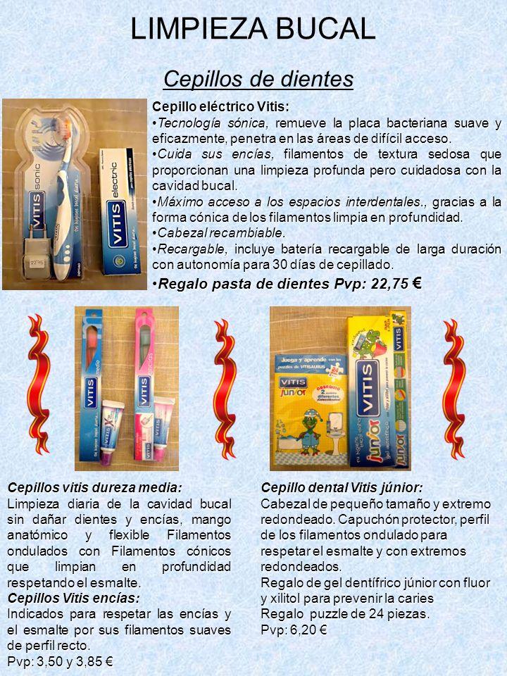 LIMPIEZA BUCAL Cepillos de dientes Cepillo eléctrico Vitis: Tecnología sónica, remueve la placa bacteriana suave y eficazmente, penetra en las áreas de difícil acceso.Tecnología sónica, remueve la placa bacteriana suave y eficazmente, penetra en las áreas de difícil acceso.