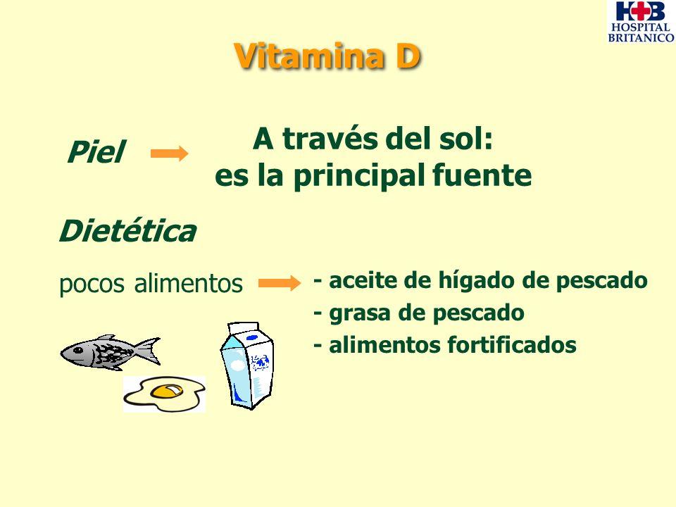 Dietética pocos alimentos - aceite de hígado de pescado - grasa de pescado - alimentos fortificados Piel A través del sol: es la principal fuente Vita