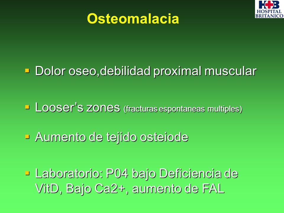 Dolor oseo,debilidad proximal muscular Dolor oseo,debilidad proximal muscular Loosers zones (fracturas espontaneas multiples) Loosers zones (fracturas