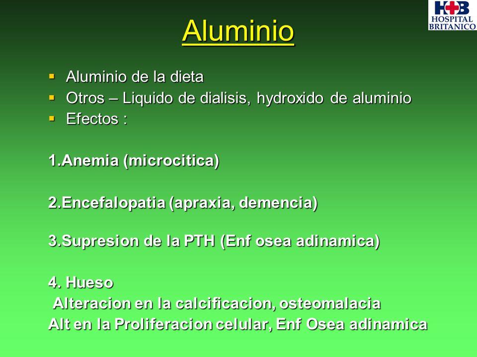 Aluminio Aluminio de la dieta Aluminio de la dieta Otros – Liquido de dialisis, hydroxido de aluminio Otros – Liquido de dialisis, hydroxido de alumin