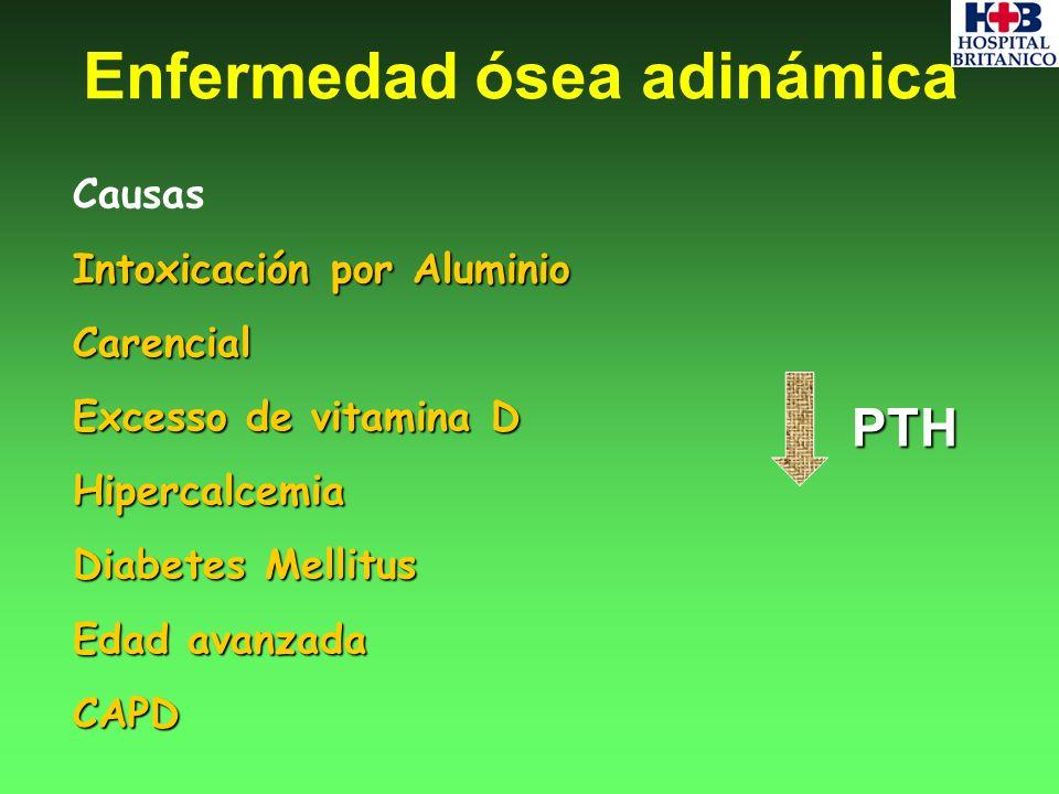 Causas Intoxicación por Aluminio Carencial Excesso de vitamina D Hipercalcemia Diabetes Mellitus Edad avanzada CAPD PTH