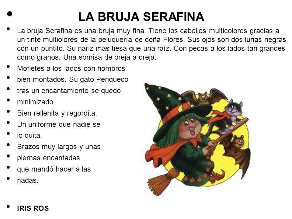LA BRUJA SERAFINA La bruja Serafina es una bruja muy fina. Tiene los cabellos multicolores gracias a un tinte multiolores de la peluquería de doña Flo
