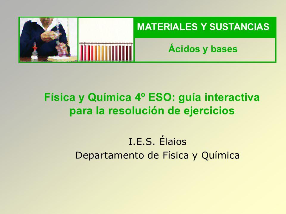 MATERIALES Y SUSTANCIAS Ácidos y bases I.E.S.