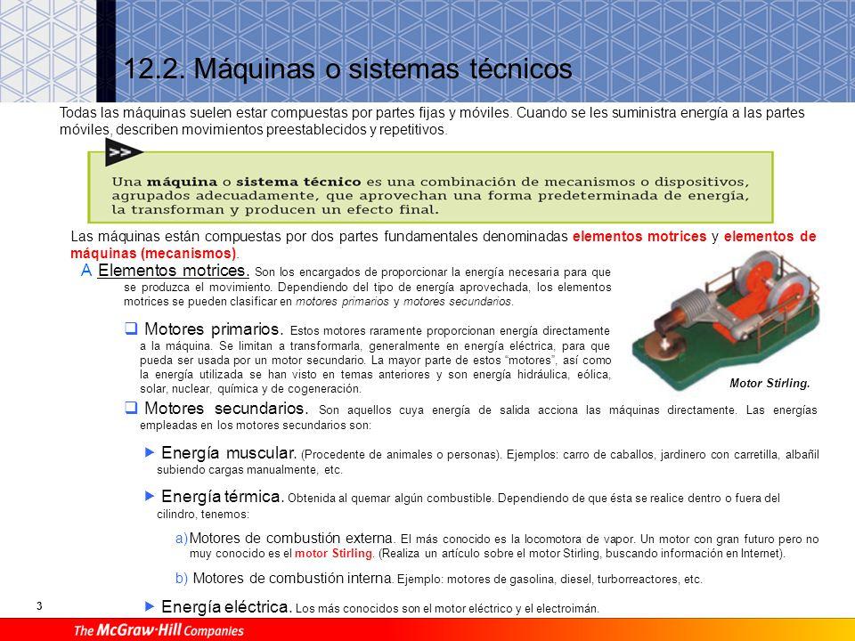 3 12.2.Máquinas o sistemas técnicos A Elementos motrices.