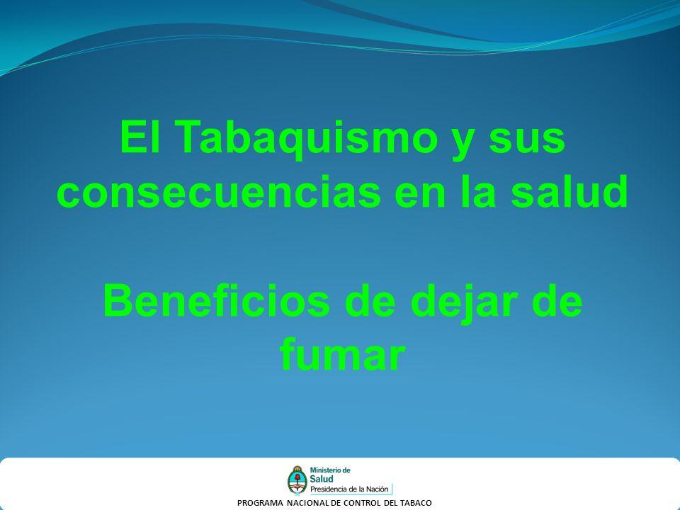 PROGRAMA NACIONAL DE CONTROL DEL TABACO El Tabaquismo y sus consecuencias en la salud Beneficios de dejar de fumar