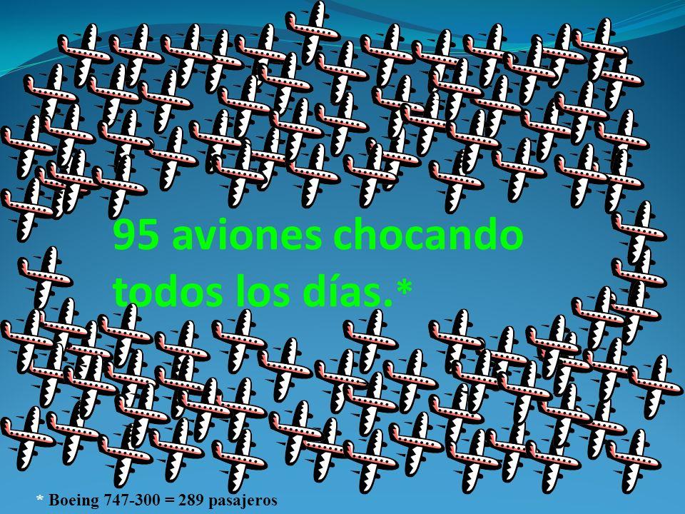 95 aviones chocando todos los días. * * Boeing 747-300 = 289 pasajeros