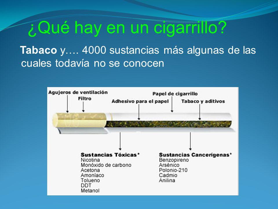 ¿Qué hay en un cigarrillo? Tabaco y…. 4000 sustancias más algunas de las cuales todavía no se conocen