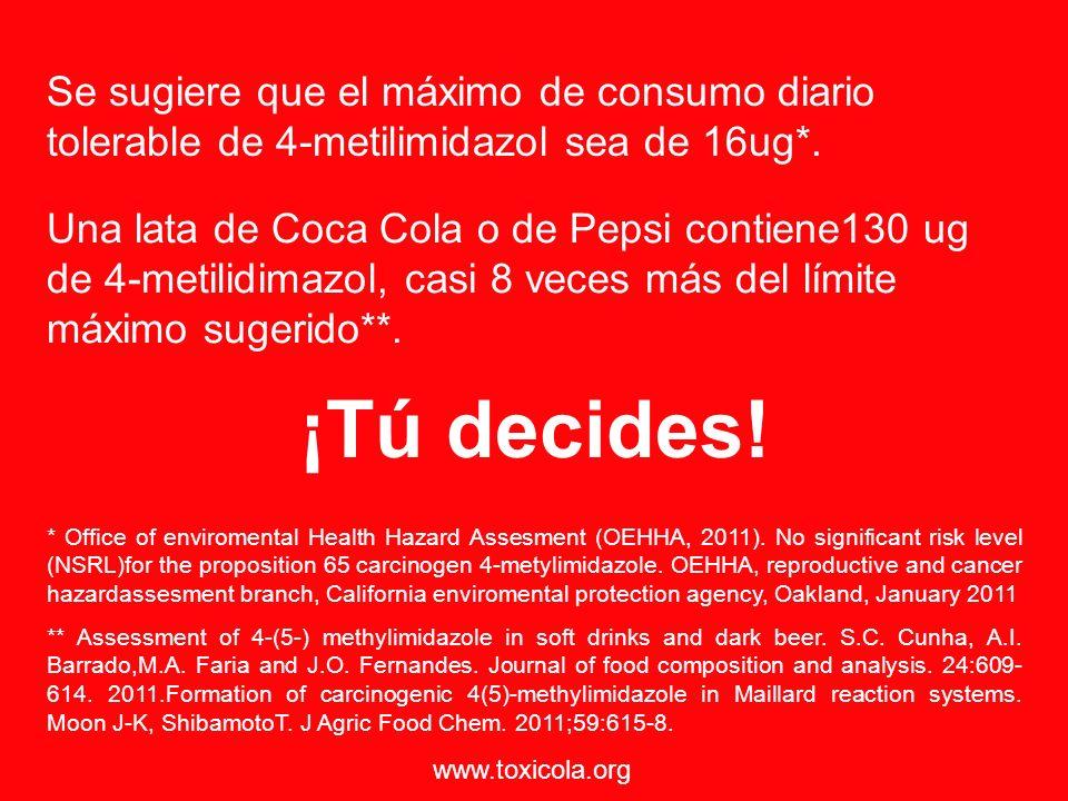 Se sugiere que el máximo de consumo diario tolerable de 4-metilimidazol sea de 16ug*. * Office of enviromental Health Hazard Assesment (OEHHA, 2011).