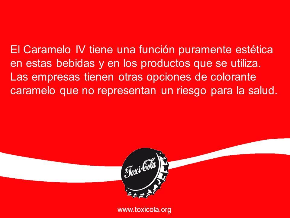 Escribe a Coca Cola para que deje de utilizar este colorante y a la autoridad para que lo prohiba, te llevará un minuto, entra a: Toxicola.org Aquí encontrarás más información y el vínculo a las organizaciones de consumidores que impulsamos esta campaña.