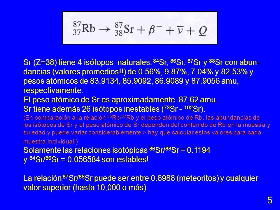 Isotopía 85 Rb: 84.9117 x 0.721654 = 61.2769 87 Rb: 86.9094 x 0.278346 = 24.1909 total = 85.4678 amu (85.46776 amu Catanzaro et al., 1969) Rb (Z=37) t