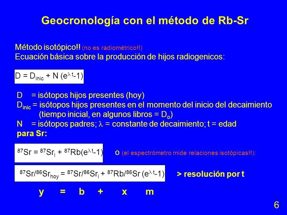 Sr (Z=38) tiene 4 isótopos naturales: 84 Sr, 86 Sr, 87 Sr y 88 Sr con abun- dancias (valores promedios!!) de 0.56%, 9.87%, 7.04% y 82.53% y pesos atóm