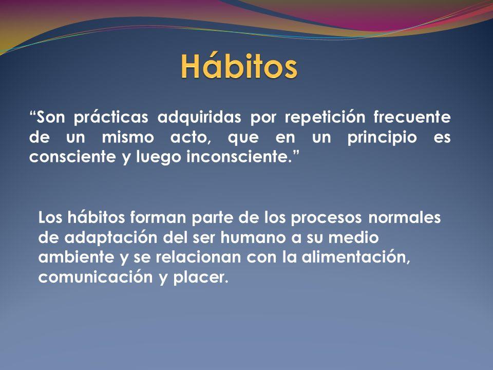 Son prácticas adquiridas por repetición frecuente de un mismo acto, que en un principio es consciente y luego inconsciente.