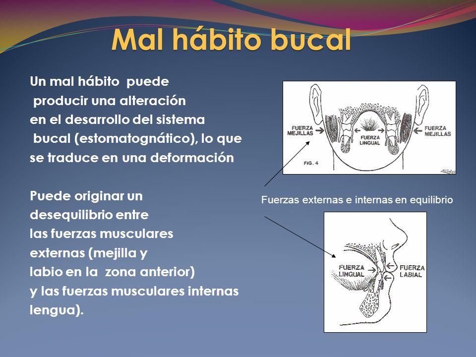 Un mal hábito puede producir una alteración en el desarrollo del sistema bucal (estomatognático), lo que se traduce en una deformación Puede originar un desequilibrio entre las fuerzas musculares externas (mejilla y labio en la zona anterior) y las fuerzas musculares internas lengua).