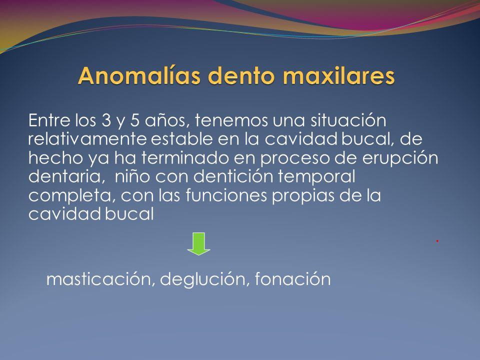 Entre los 3 y 5 años, tenemos una situación relativamente estable en la cavidad bucal, de hecho ya ha terminado en proceso de erupción dentaria, niño con dentición temporal completa, con las funciones propias de la cavidad bucal.