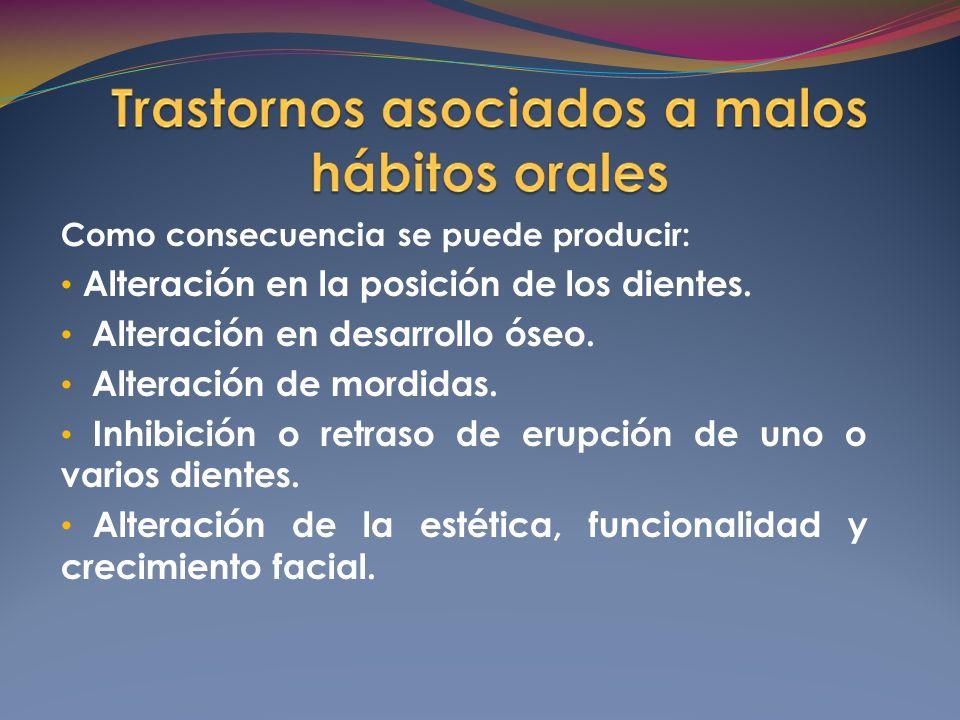 Como consecuencia se puede producir: Alteración en la posición de los dientes.