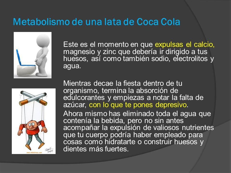 Metabolismo de una lata de Coca Cola Este es el momento en que expulsas el calcio, magnesio y zinc que debería ir dirigido a tus huesos, así como también sodio, electrolitos y agua.