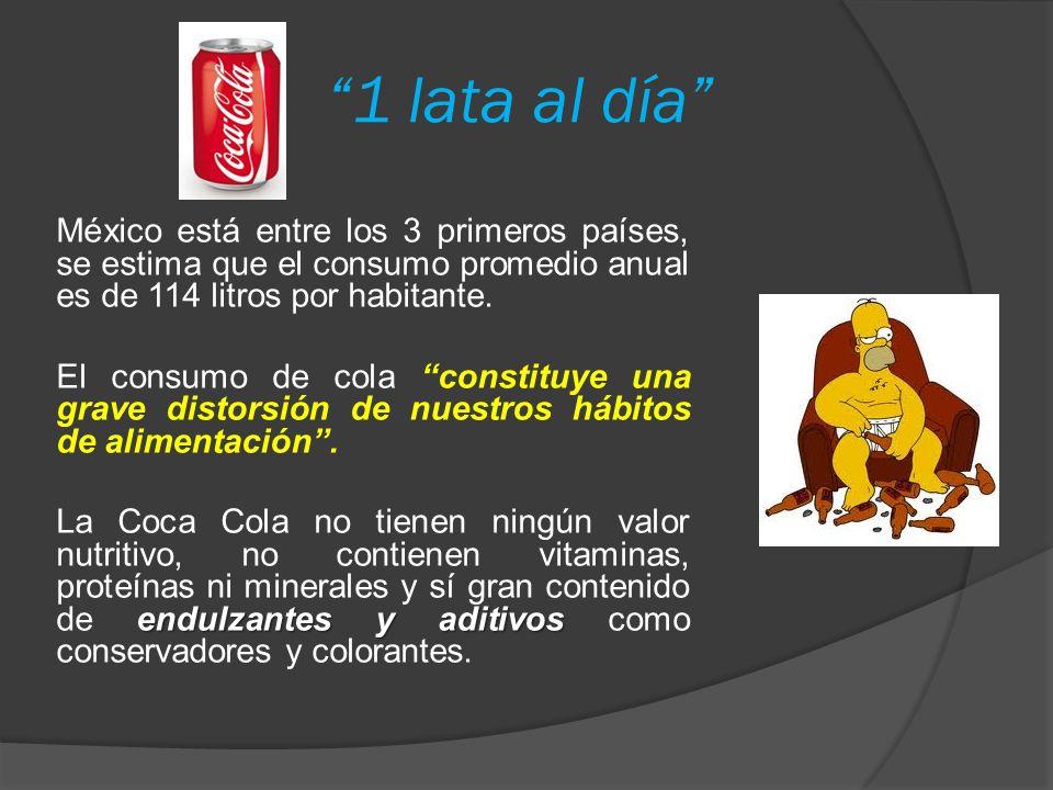 1 lata al día México está entre los 3 primeros países, se estima que el consumo promedio anual es de 114 litros por habitante.