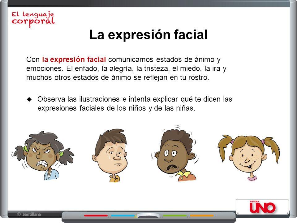 La expresión facial Observa las ilustraciones e intenta explicar qué te dicen las expresiones faciales de los niños y de las niñas. Con la expresión f