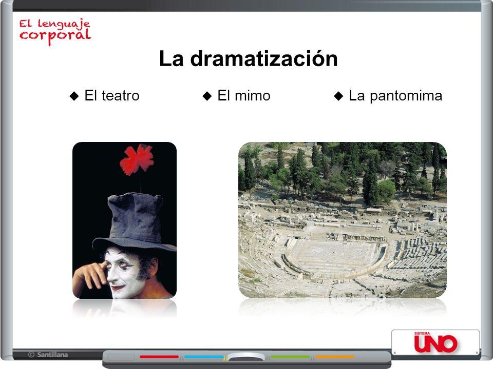 La dramatización El teatro El mimo La pantomima
