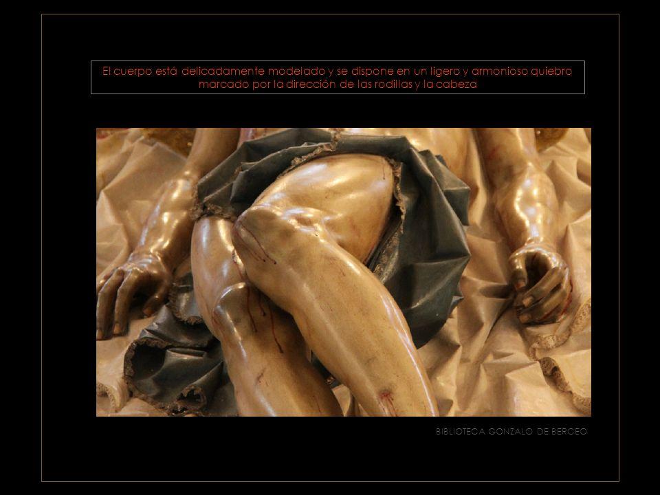 BIBLIOTECA GONZALO DE BERCEO para aumentar la sensación de realismo utiliza postizos : los ojos son de cristal, las uñas y los dientes de marfil, los coágulos de sangre son de corcho, las gotas de sudor y las lágrimas de resina….