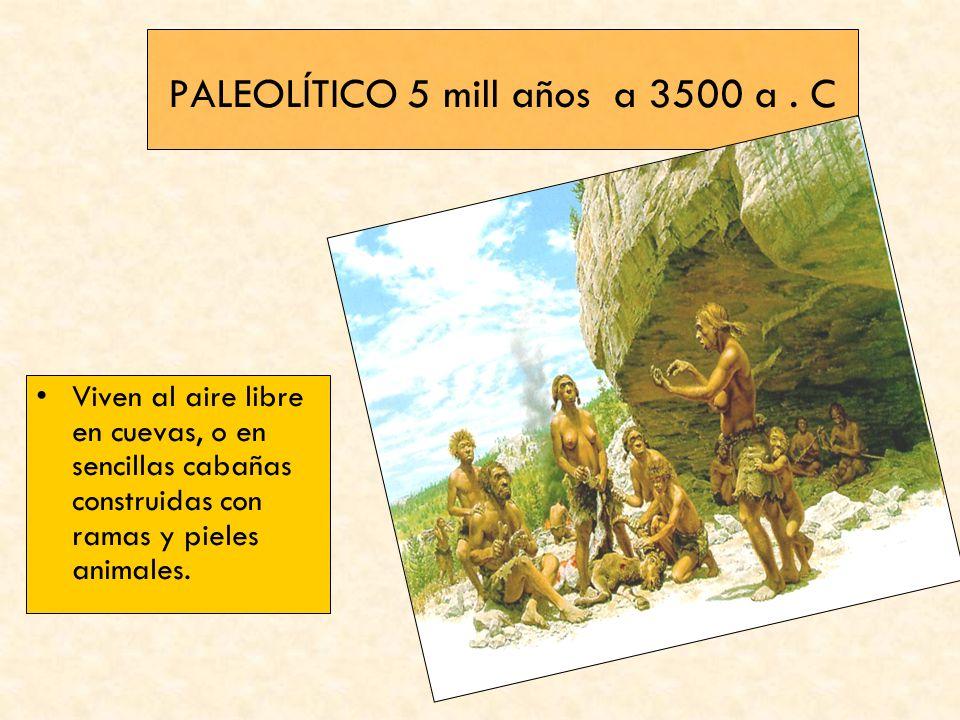 PALEOLÍTICO 5 mill años a 3500 a. C Viven al aire libre en cuevas, o en sencillas cabañas construidas con ramas y pieles animales.