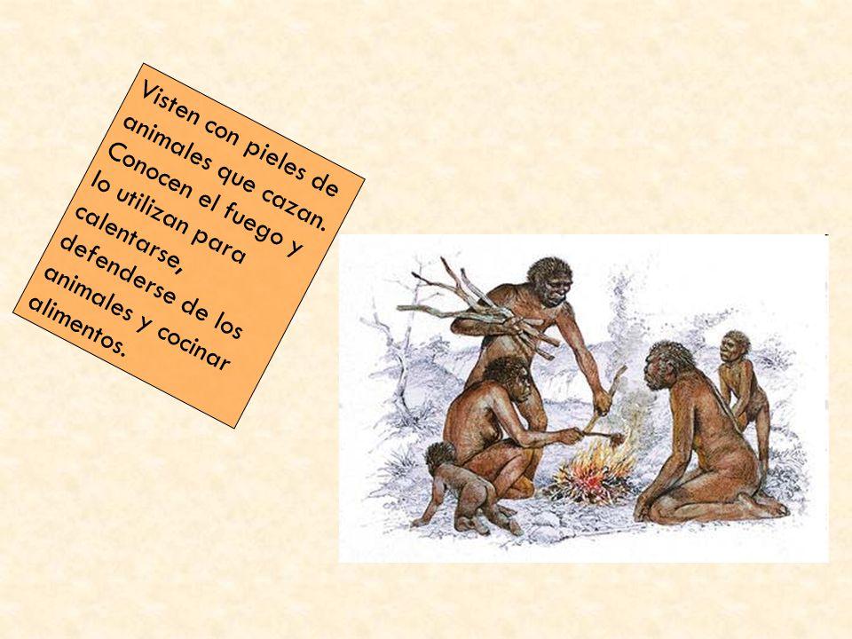 Visten con pieles de animales que cazan. Conocen el fuego y lo utilizan para calentarse, defenderse de los animales y cocinar alimentos.