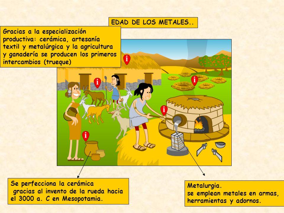 EDAD DE LOS METALES.. Metalurgia. se emplean metales en armas, herramientas y adornos. Se perfecciona la cerámica gracias al invento de la rueda hacia