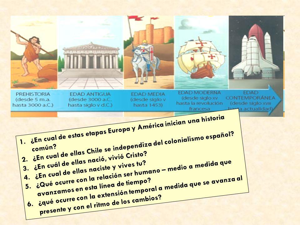 1.¿En cual de estas etapas Europa y América inician una historia común? 2.¿En cual de ellas Chile se independiza del colonialismo español? 3.¿En cuál