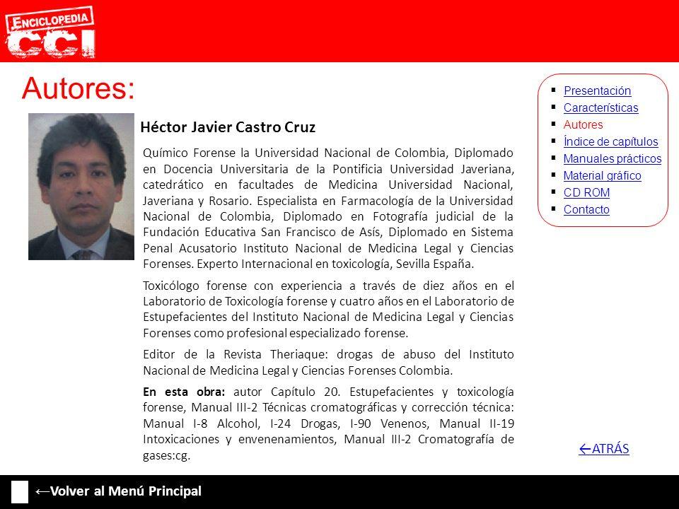 Autores: Héctor Javier Castro Cruz Características Autores Índice de capítulos Manuales prácticos Material gráfico CD ROM Contacto Presentación Químic
