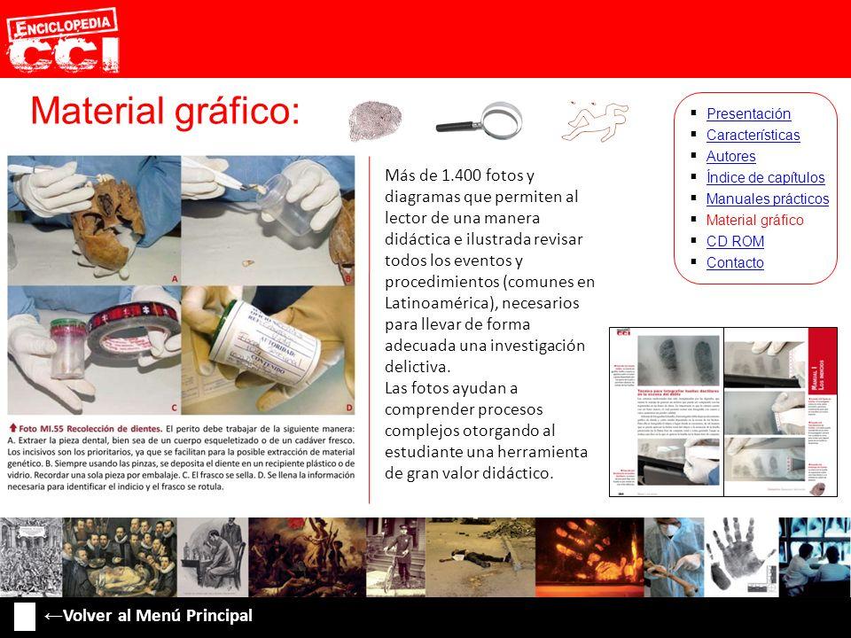 Material gráfico: Características Autores Índice de capítulos Manuales prácticos Material gráfico CD ROM Contacto Presentación Más de 1.400 fotos y di