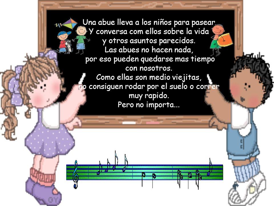 Una abue lleva a los niños para pasear Y conversa com ellos sobre la vida y otros asuntos parecidos.