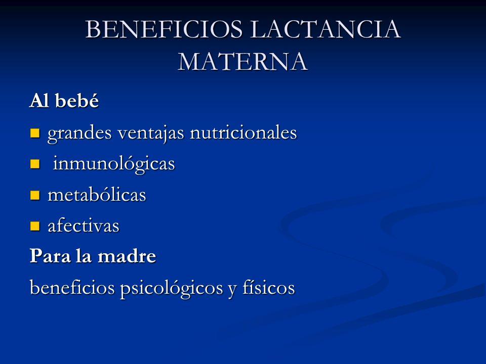 BENEFICIOS LACTANCIA MATERNA Al bebé grandes ventajas nutricionales grandes ventajas nutricionales inmunológicas inmunológicas metabólicas metabólicas