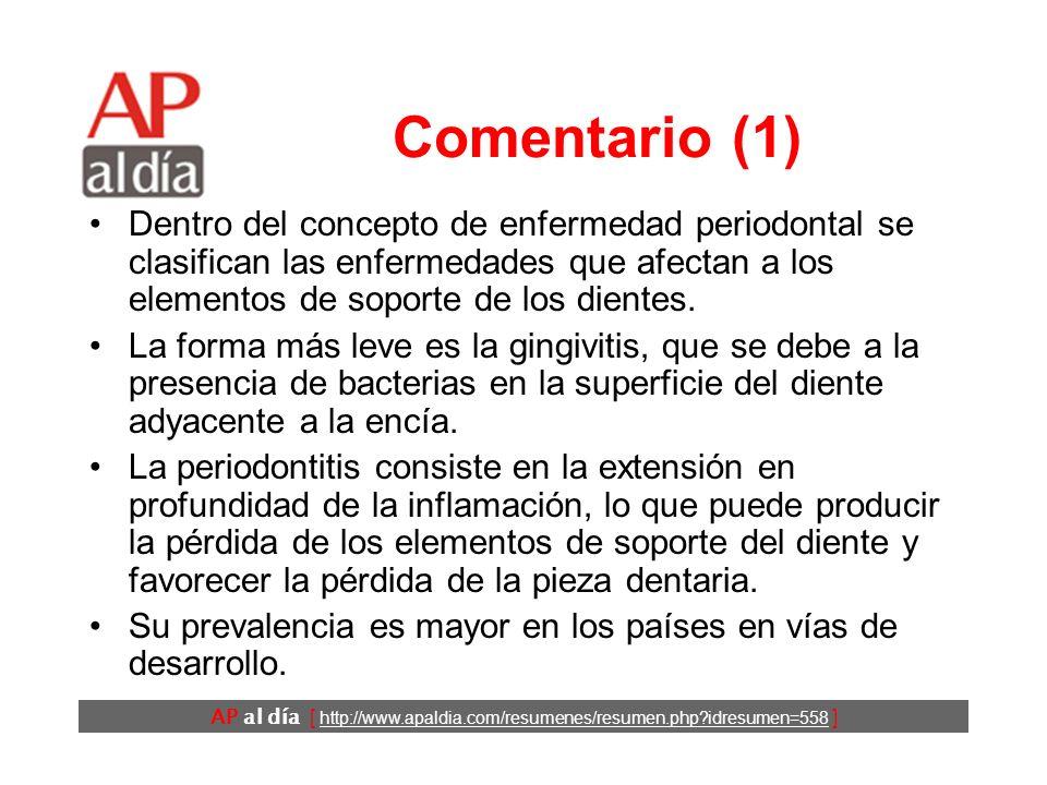 AP al día [ http://www.apaldia.com/resumenes/resumen.php idresumen=558 ] Conclusiones Los autores concluyen que el consumo de Cannabis es un factor de riesgo de enfermedad periodontal independiente del tabaco.