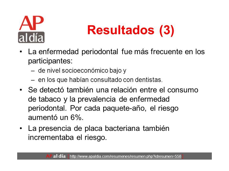 AP al día [ http://www.apaldia.com/resumenes/resumen.php?idresumen=558 ] Resultados (3) La enfermedad periodontal fue más frecuente en los participantes: –de nivel socioeconómico bajo y –en los que habían consultado con dentistas.