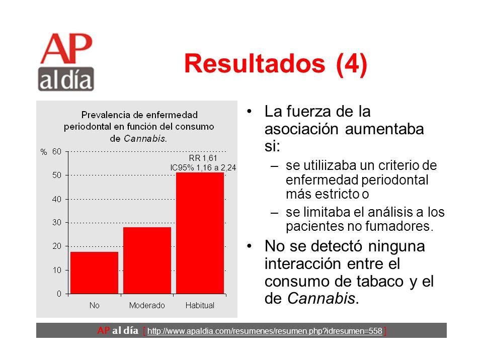 AP al día [ http://www.apaldia.com/resumenes/resumen.php?idresumen=558 ] Resultados (4) La fuerza de la asociación aumentaba si: –se utiliizaba un criterio de enfermedad periodontal más estricto o –se limitaba el análisis a los pacientes no fumadores.
