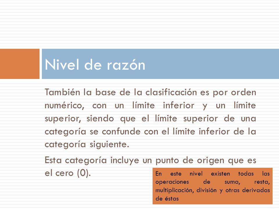 También la base de la clasificación es por orden numérico, con un límite inferior y un límite superior, siendo que el límite superior de una categoría se confunde con el límite inferior de la categoría siguiente.