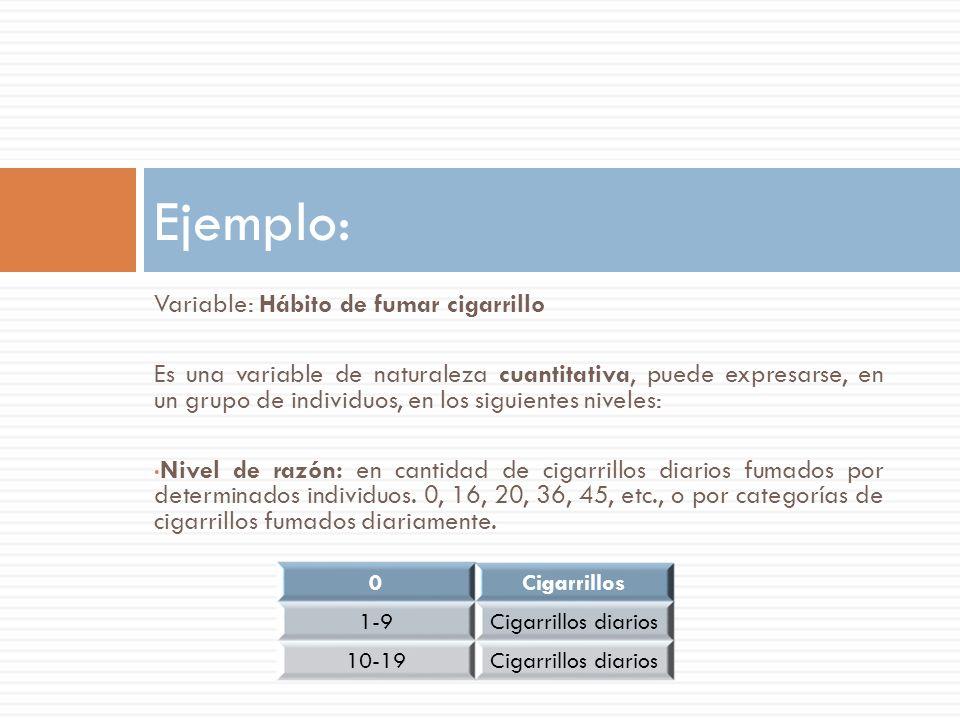Variable: Hábito de fumar cigarrillo Es una variable de naturaleza cuantitativa, puede expresarse, en un grupo de individuos, en los siguientes niveles: Nivel de razón: en cantidad de cigarrillos diarios fumados por determinados individuos.