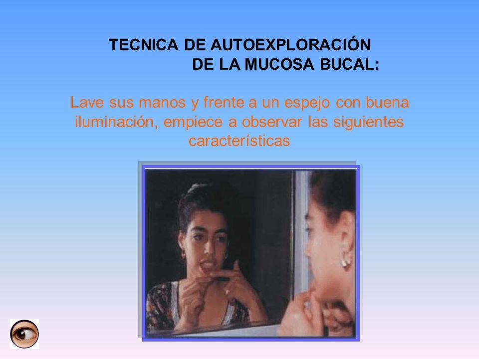 TECNICA DE AUTOEXPLORACIÓN DE LA MUCOSA BUCAL: Lave sus manos y frente a un espejo con buena iluminación, empiece a observar las siguientes caracterís