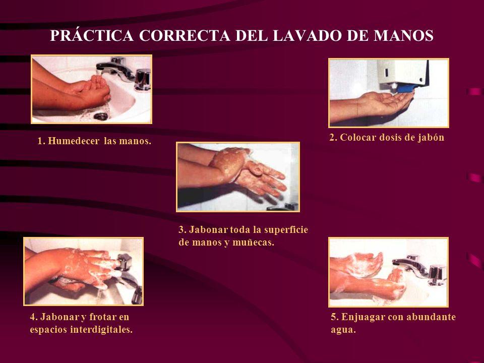 PRÁCTICA CORRECTA DEL LAVADO DE MANOS 1.Humedecer las manos.