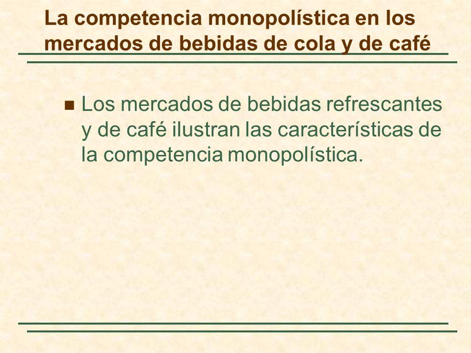 La competencia monopolística en los mercados de bebidas de cola y de café Los mercados de bebidas refrescantes y de café ilustran las características de la competencia monopolística.