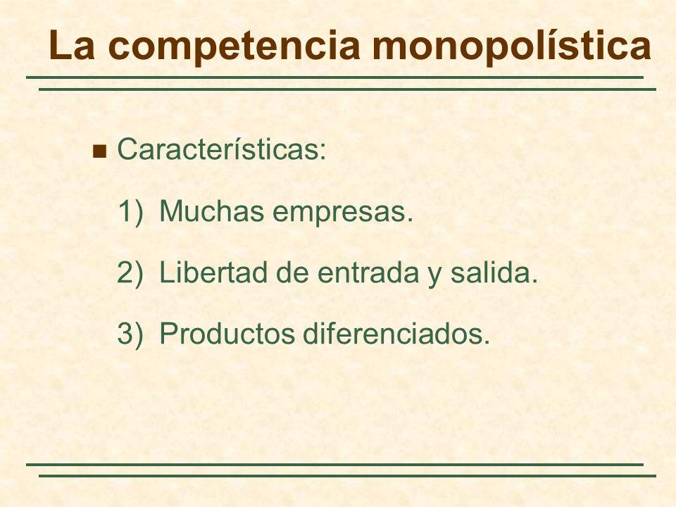 Características: 1)Muchas empresas. 2)Libertad de entrada y salida. 3)Productos diferenciados.