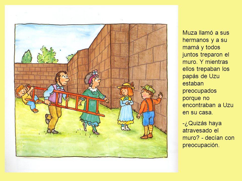Muza llamó a sus hermanos y a su mamá y todos juntos treparon el muro.