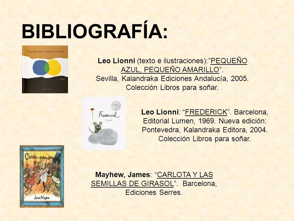 BIBLIOGRAFÍA: Leo Lionni (texto e ilustraciones):PEQUEÑO AZUL, PEQUEÑO AMARILLO. Sevilla, Kalandraka Ediciones Andalucía, 2005. Colección Libros para